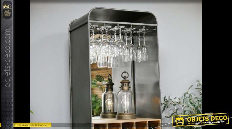 Meuble bar cave à vin en colonne style industriel et vintage 173 cm