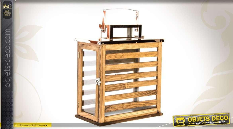 lanterne bois et verre rectangulaire. Black Bedroom Furniture Sets. Home Design Ideas