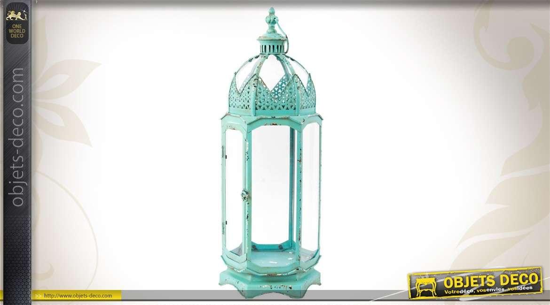 lanterne turquoise hexagonale en m tal et verre. Black Bedroom Furniture Sets. Home Design Ideas