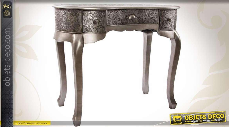 coiffeuse en bois et m tal emboss finition zinc ancien. Black Bedroom Furniture Sets. Home Design Ideas