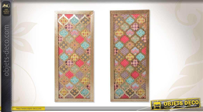 ensemble de 2 d corations murales color es de style ethnique. Black Bedroom Furniture Sets. Home Design Ideas