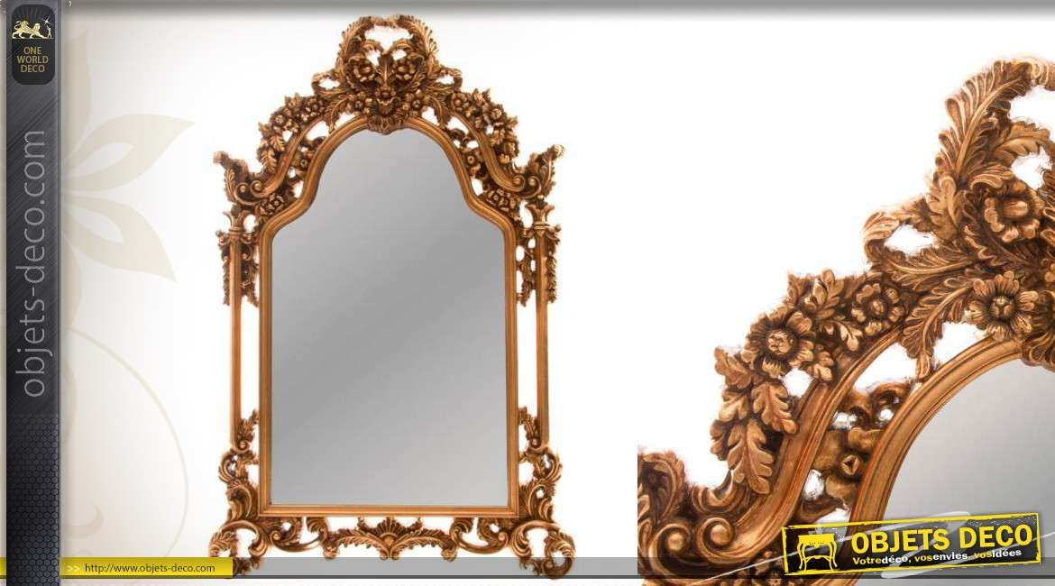 grand miroir baroque dor luxueux sculpt la main 160 cm. Black Bedroom Furniture Sets. Home Design Ideas