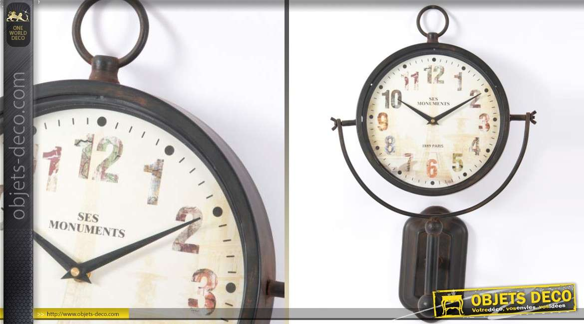 horloge murale en m tal de style vintage effet oxyd 54 cm. Black Bedroom Furniture Sets. Home Design Ideas