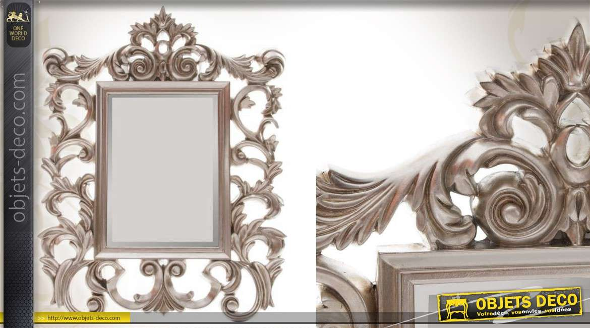 miroir mural baroque argent 110 cm. Black Bedroom Furniture Sets. Home Design Ideas