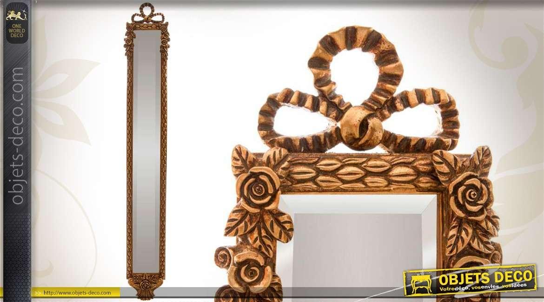 haut miroir vertical style ancien dor motifs fleurs et rubans. Black Bedroom Furniture Sets. Home Design Ideas