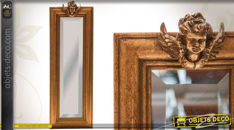 Grand miroir dor patine vieillie de style ancien 155 cm for Miroir style ancien