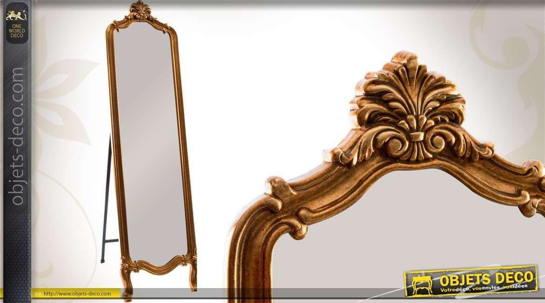 miroir psych style ancien en bois finition dor e 168 cm. Black Bedroom Furniture Sets. Home Design Ideas