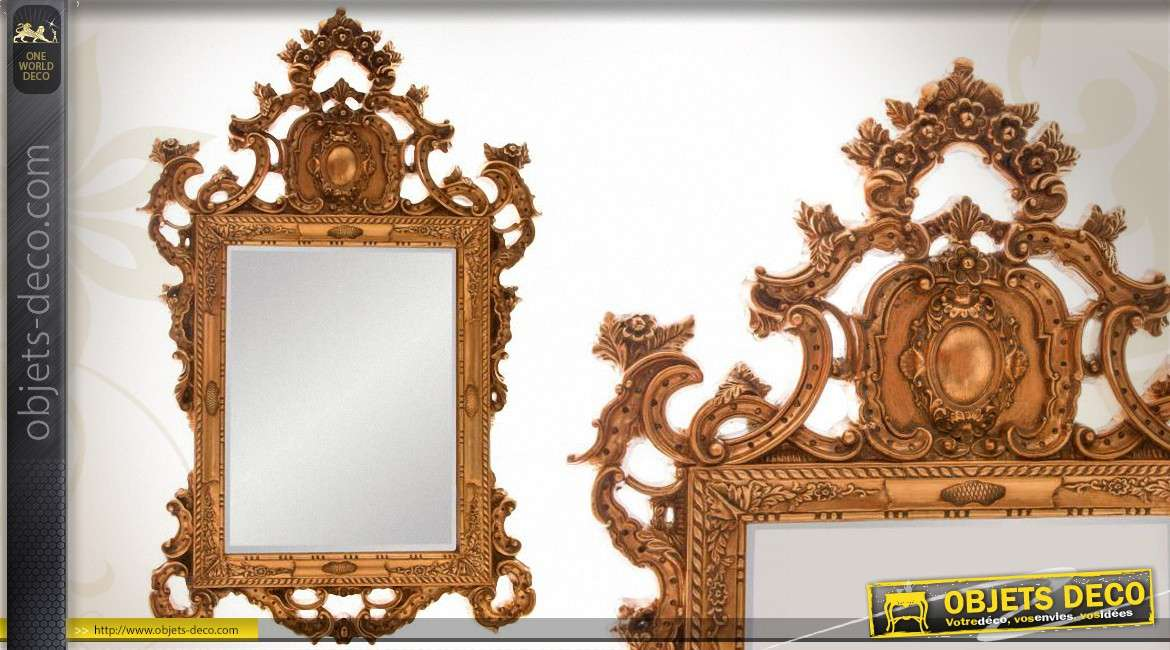 miroir baroque ajour patine blanc ancien 104 cm. Black Bedroom Furniture Sets. Home Design Ideas