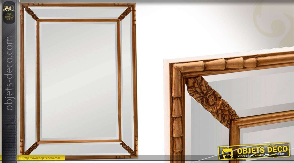 Miroir parcloses de style ancien en bois finition dor e for Miroir bordure doree