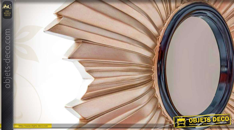Miroir d co murale m tal abstrait coloris champagne 106 cm - Miroir decoration murale ...