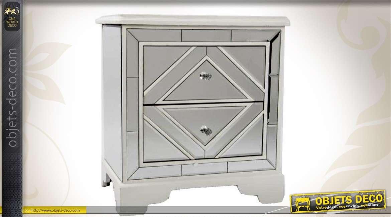 table de chevet en miroir de style v nitien 2 tiroirs. Black Bedroom Furniture Sets. Home Design Ideas