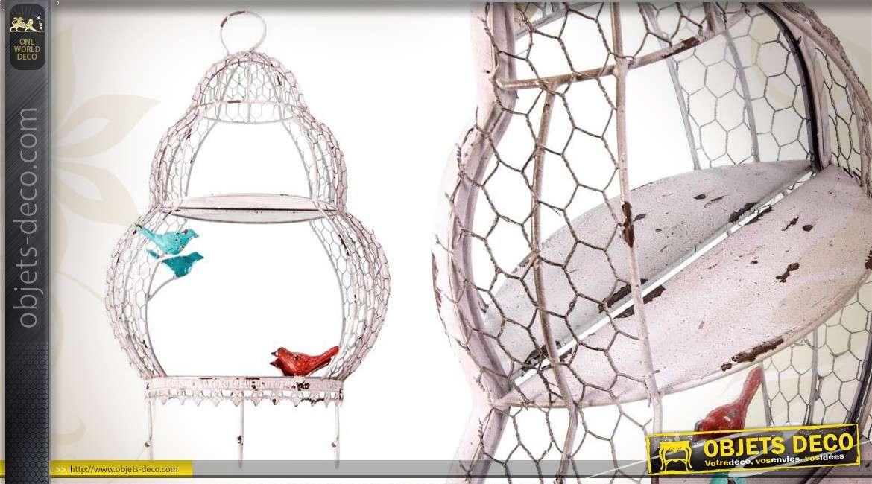 Etag re fantaisie cage oiseaux grillag e miroir et crochets for Miroir fantaisie