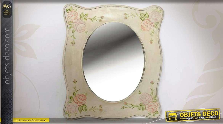 Miroir en bois vintage coloris cr me avec motifs de fleurs - Deco avec miroir mural ...