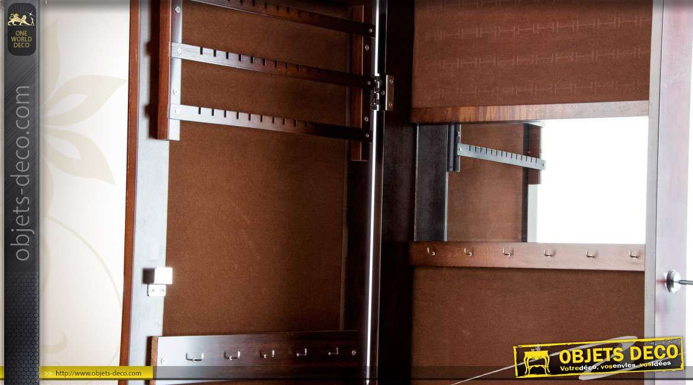 Miroir psych armoire bijoux brun antiquaire fa ade motifs - Miroir psyche avec rangement ...