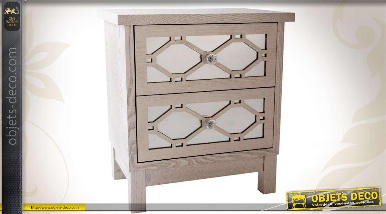 table de chevet 2 tiroirs gris antique avec fa ade en miroir. Black Bedroom Furniture Sets. Home Design Ideas