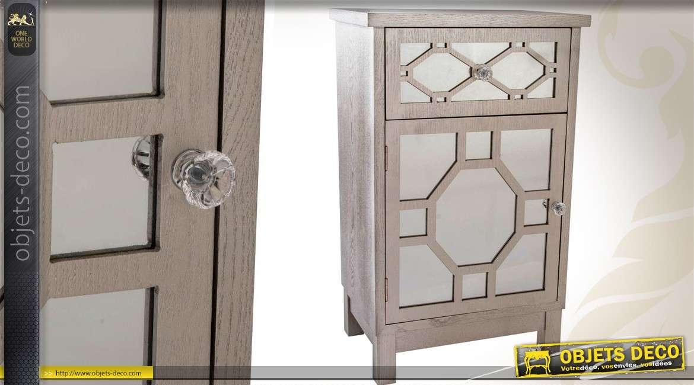 Haute table de chevet un tiroir et une porte fa ades en for Meuble une porte et un tiroir