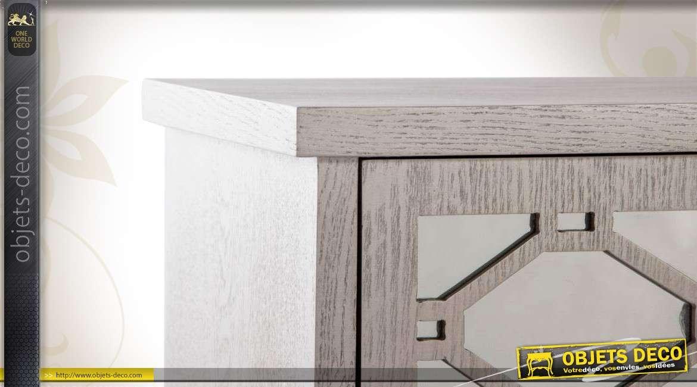 haute table de chevet un tiroir et une porte fa ades en miroirs. Black Bedroom Furniture Sets. Home Design Ideas