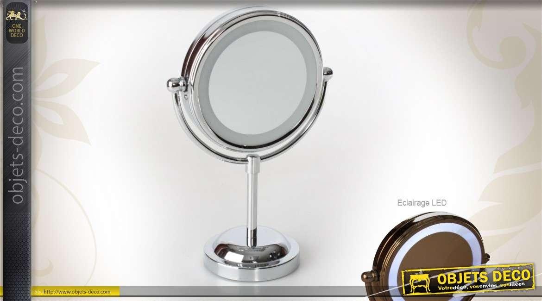 miroir cosm tique mural sur bras articul m tal chrom. Black Bedroom Furniture Sets. Home Design Ideas