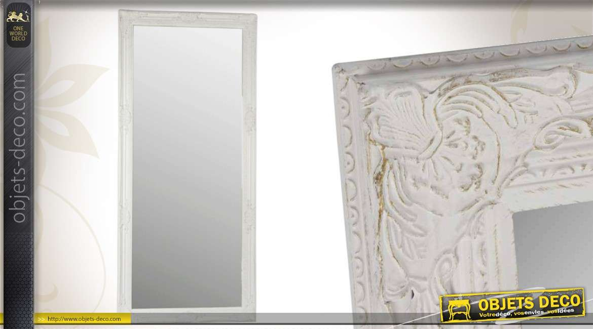 Grand miroir style ancien blanc patine vieillie 164 cm for Grand miroir blanc
