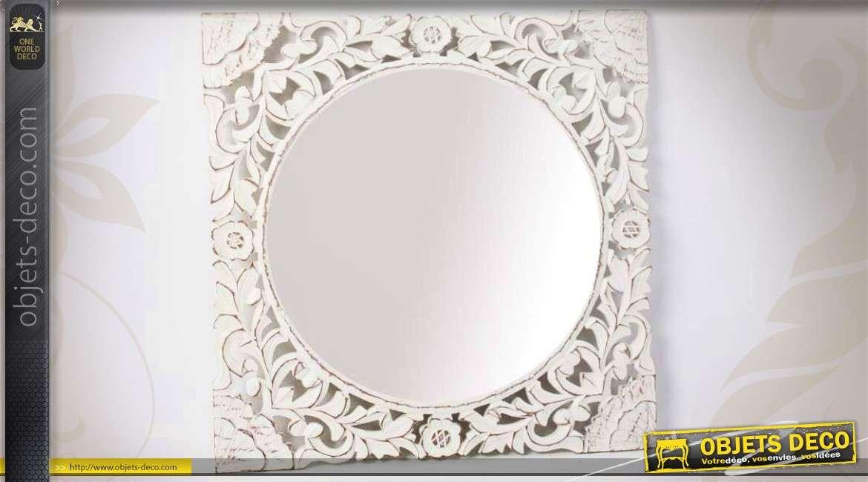 miroir carr romantique bois r tro motifs ajour s blanc antique. Black Bedroom Furniture Sets. Home Design Ideas