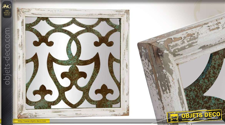 Miroir de style brocante en m tal vieilli effet oxyd 100 cm for Deco miroir mural