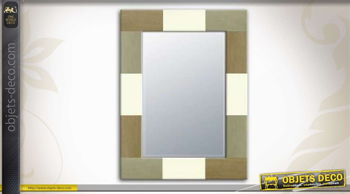 Miroir en bois finition multicolore blanc marron et gris 70 cm for Miroir 70 cm