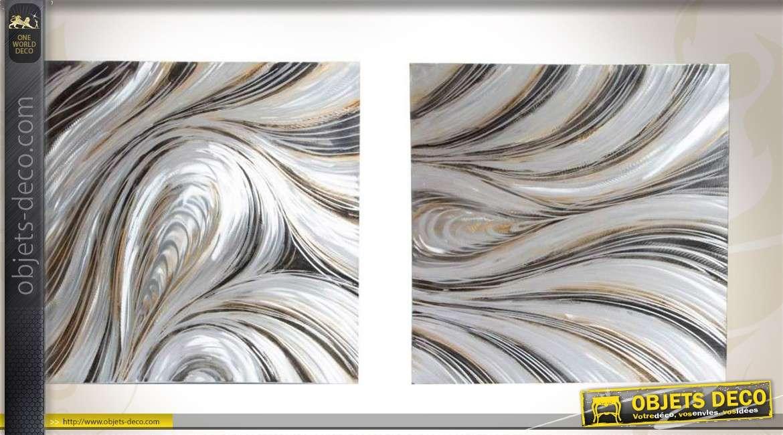 D coration murale 2 plaques aluminium en relief style abstrait - Deco murale en relief ...