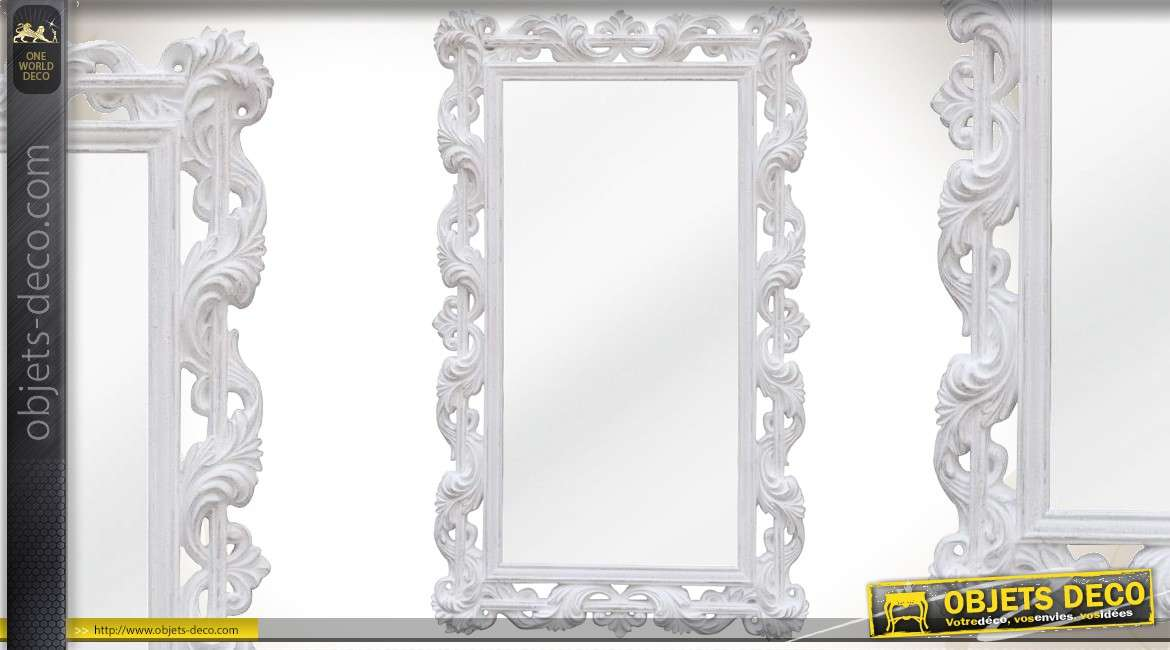 Miroir ovale psych baroque gris clair for Grand miroir mural horizontal
