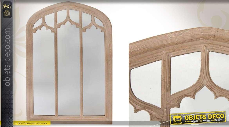 Miroir fen tre mural en bois de style r tro trois colonnes for Miroir fenetre bois