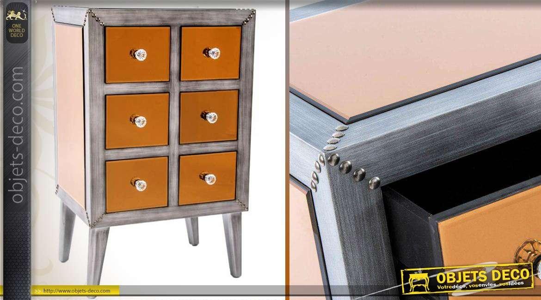 chiffonnier 6 tiroirs en bois et miroirs cuivr s style. Black Bedroom Furniture Sets. Home Design Ideas