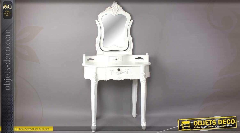 coiffeuse blanche de style baroque avec son miroir. Black Bedroom Furniture Sets. Home Design Ideas