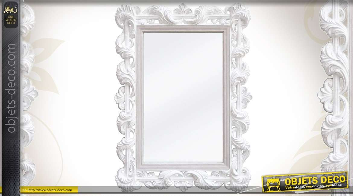 Grand miroir rond 80 cm coloris blanc antique de style for Miroir rond 100 cm