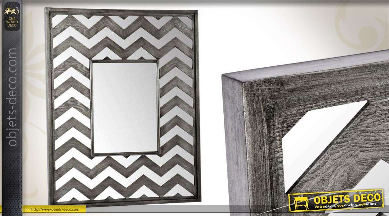 Miroir horizontal bois style design vagues argent es 160 cm for Miroir mural decoratif