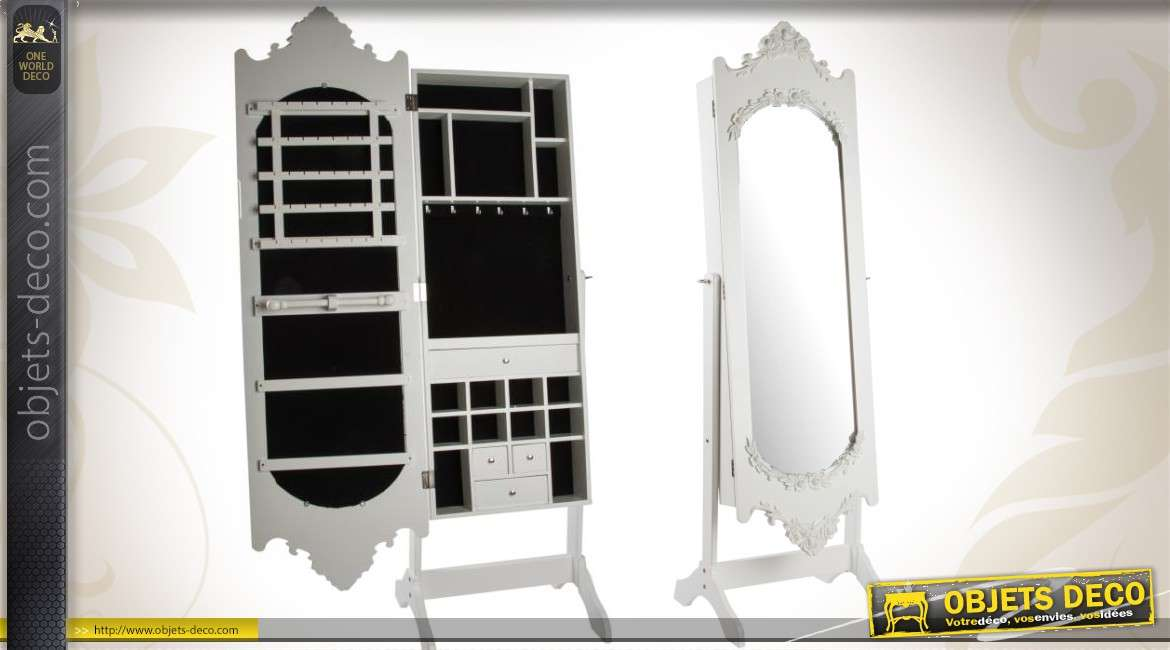psych miroir baroque avec armoire bijoux patine blanc. Black Bedroom Furniture Sets. Home Design Ideas