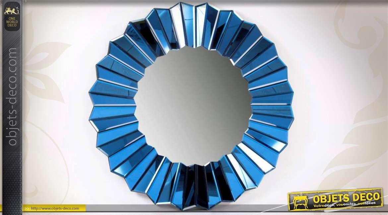 miroir de style design en bois et verre teinte bleut e 80 cm. Black Bedroom Furniture Sets. Home Design Ideas
