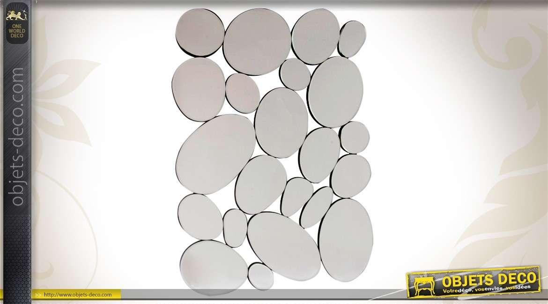 Grand miroir multifacettes design en forme de galets 90 cm for Miroir forme originale