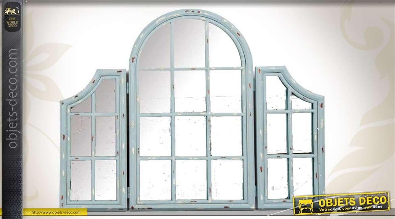Miroir fen tre de style ancien patine vert clair antique - Miroir style fenetre ...