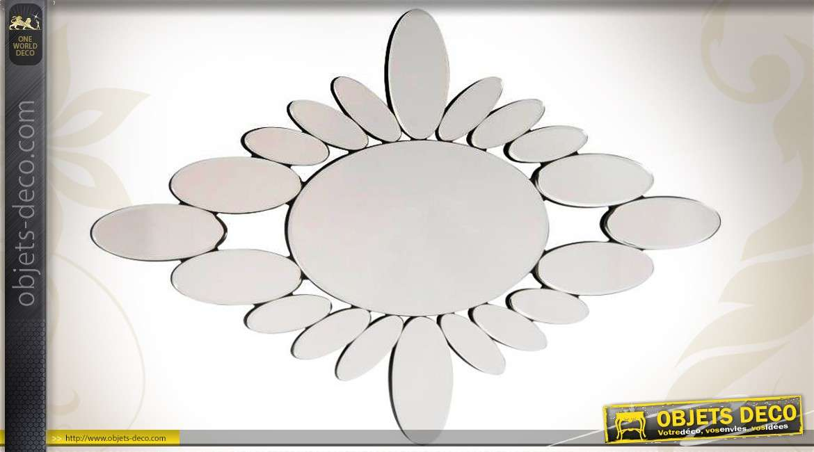 Miroir mural multifacettes abstrait formes rondes et ovales for Miroirs grandes dimensions