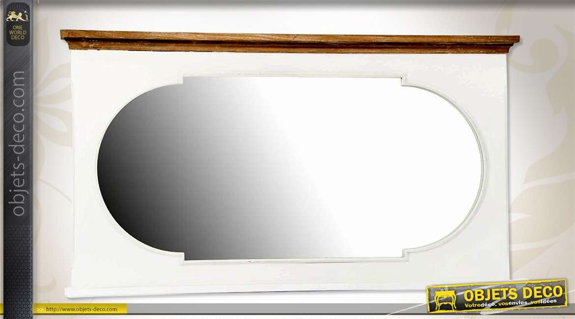 Miroir horizontal style r tro en bois finition bicolore 105 cm for Grand miroir mural horizontal