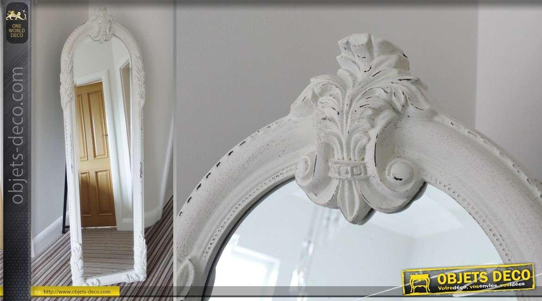 Psych blanche de style baroque miroir en arcade 157 cm for Miroir psyche baroque