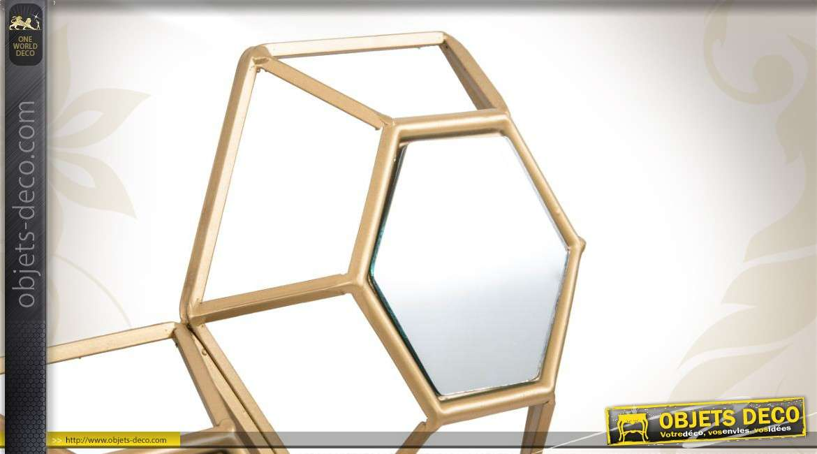 miroir d co murale m tal miroirs hexagonaux en relief. Black Bedroom Furniture Sets. Home Design Ideas