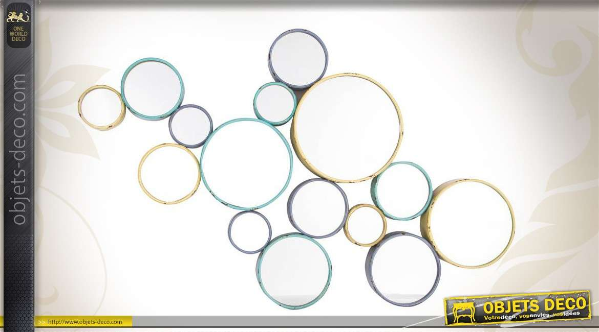 Miroir de d coration murale art d co cercles color s for Decoration murale avec miroir