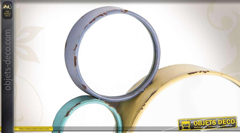 Miroir de d coration murale art d co cercles color s for Miroir art deco