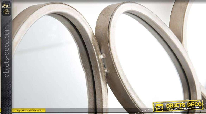 Miroir multifacettes d co murale de miroirs ronds et ovales for Miroirs ovales