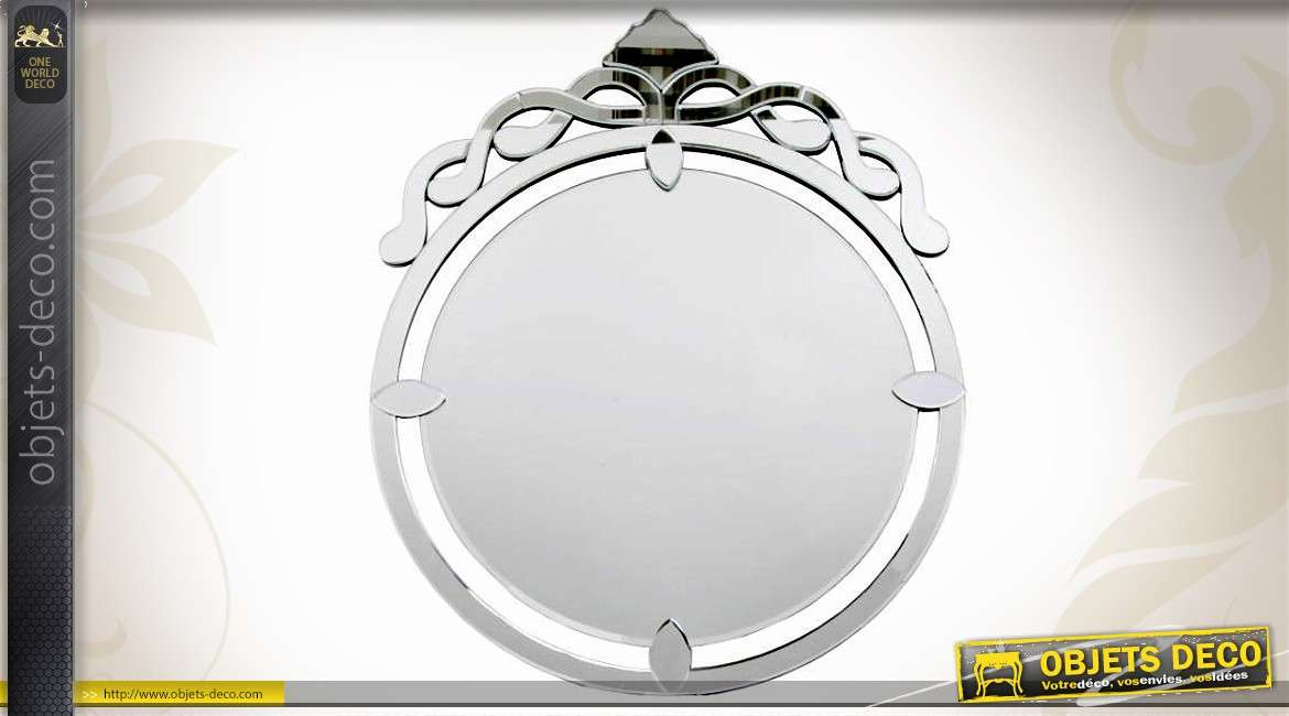 Grand miroir rond de style v nitien 66 cm for Miroir rond grand