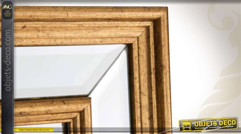 Miroir horizontal double encadrement finition bois dor 75 cm for Miroir horizontal