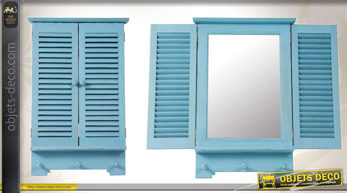 miroir fen tre bleu ciel l 39 ancienne volets en persiennes 60 cm. Black Bedroom Furniture Sets. Home Design Ideas