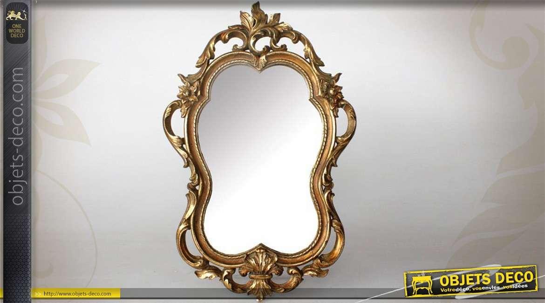 miroir dor de style baroque formes sinueuses et ajour es 47 cm. Black Bedroom Furniture Sets. Home Design Ideas