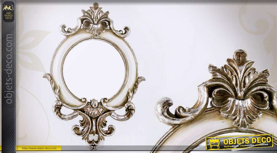 miroir rond blanc et argent de style baroque 47 cm. Black Bedroom Furniture Sets. Home Design Ideas