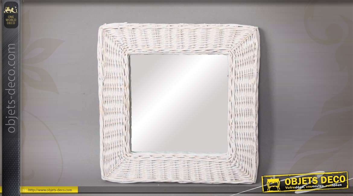 miroir carr avec encadrement en osier teint blanc 40 x 40 cm. Black Bedroom Furniture Sets. Home Design Ideas